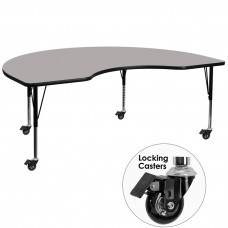 Mobile 48''W x 96''L Kidney Grey HP Laminate Activity Table - Height Adjustable Short Legs