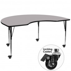 Mobile 48''W x 96''L Kidney Grey Thermal Laminate Activity Table - Standard Height Adjustable Legs