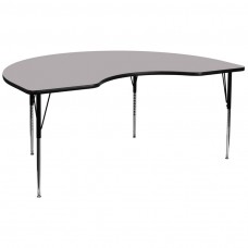 48''W x 96''L Kidney Grey Thermal Laminate Activity Table - Standard Height Adjustable Legs