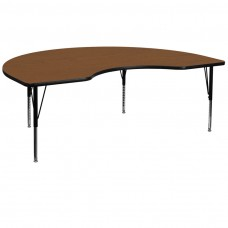 48''W x 96''L Kidney Oak HP Laminate Activity Table - Height Adjustable Short Legs