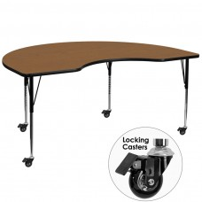 Mobile 48''W x 96''L Kidney Oak Thermal Laminate Activity Table - Standard Height Adjustable Legs