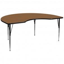 48''W x 96''L Kidney Oak Thermal Laminate Activity Table - Standard Height Adjustable Legs