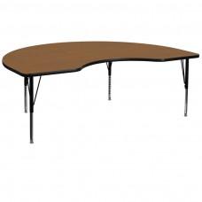 48''W x 96''L Kidney Oak Thermal Laminate Activity Table - Height Adjustable Short Legs