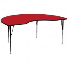48''W x 96''L Kidney Red HP Laminate Activity Table - Standard Height Adjustable Legs