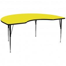 48''W x 96''L Kidney Yellow HP Laminate Activity Table - Standard Height Adjustable Legs