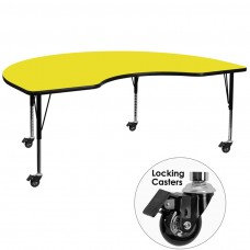 Mobile 48''W x 96''L Kidney Yellow HP Laminate Activity Table - Height Adjustable Short Legs
