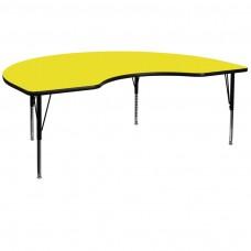 48''W x 96''L Kidney Yellow HP Laminate Activity Table - Height Adjustable Short Legs