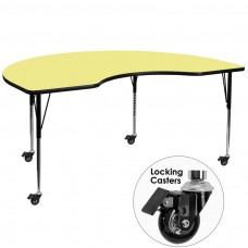 Mobile 48''W x 96''L Kidney Yellow Thermal Laminate Activity Table - Standard Height Adjustable Legs