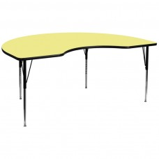 48''W x 96''L Kidney Yellow Thermal Laminate Activity Table - Standard Height Adjustable Legs