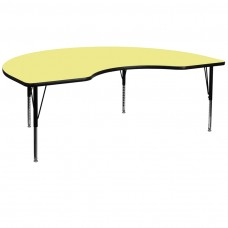48''W x 96''L Kidney Yellow Thermal Laminate Activity Table - Height Adjustable Short Legs