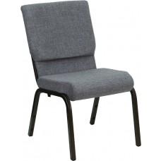 HERCULES Series 18.5''W Stacking Church Chair in Gray Fabric - Gold Vein Frame [XU-CH-60096-BEIJING-GY-GG]