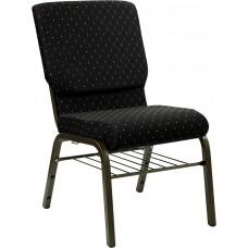 HERCULES Series 18.5''W Church Chair in Black Dot Patterned Fabric with Book Rack - Gold Vein Frame [XU-CH-60096-BK-BAS-GG]