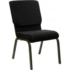 HERCULES Series 18.5''W Stacking Church Chair in Black Dot Patterned Fabric - Gold Vein Frame [XU-CH-60096-BK-GG]
