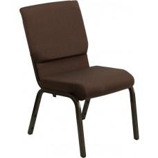 HERCULES Series 18.5''W Stacking Church Chair in Brown Fabric - Gold Vein Frame [XU-CH-60096-BN-GG]