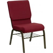 HERCULES Series 18.5''W Church Chair in Burgundy Fabric with Book Rack - Gold Vein Frame [XU-CH-60096-BY-BAS-GG]