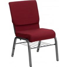 HERCULES Series 18.5''W Church Chair in Burgundy Fabric with Book Rack - Silver Vein Frame [XU-CH-60096-BY-SILV-BAS-GG]