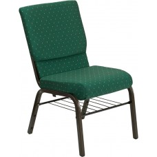 HERCULES Series 18.5''W Church Chair in Green Patterned Fabric with Book Rack - Gold Vein Frame [XU-CH-60096-GN-BAS-GG]