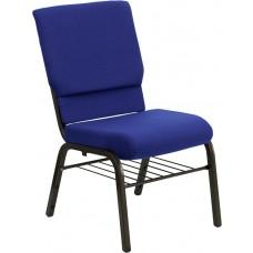 HERCULES Series 18.5''W Church Chair in Navy Blue Fabric with Book Rack - Gold Vein Frame [XU-CH-60096-NVY-BAS-GG]