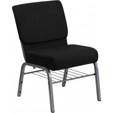 HERCULES Series 21''W Church Chair in Black Fabric with Book Rack - Silver Vein Frame