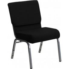 HERCULES Series 21''W Stacking Church Chair in Black Fabric - Silver Vein Frame [XU-CH0221-BK-SV-GG]