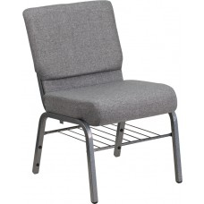 HERCULES Series 21''W Church Chair in Gray Fabric with Book Rack - Silver Vein Frame