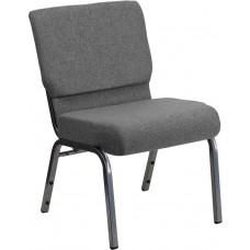 HERCULES Series 21''W Stacking Church Chair in Gray Fabric - Silver Vein Frame [XU-CH0221-GY-SV-GG]