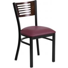 HERCULES Series Black Slat Back Metal Restaurant Chair - Walnut Wood Back, Burgundy Vinyl Seat [XU-DG-6G5B-WAL-BURV-GG]