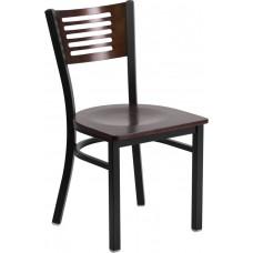 HERCULES Series Black Slat Back Metal Restaurant Chair - Walnut Wood Back & Seat