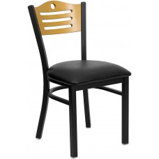 HERCULES Series Black Slat Back Metal Restaurant Chair - Natural Wood Back, Black Vinyl Seat [XU-DG-6G7B-SLAT-BLKV-GG]
