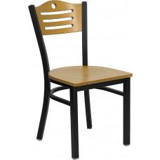 HERCULES Series Black Slat Back Metal Restaurant Chair - Natural Wood Back & Seat