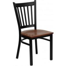 HERCULES Series Black Vertical Back Metal Restaurant Chair - Cherry Wood Seat