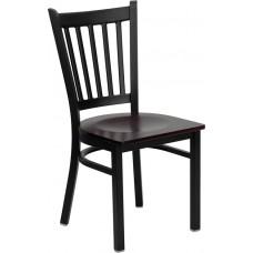 HERCULES Series Black Vertical Back Metal Restaurant Chair - Mahogany Wood Seat