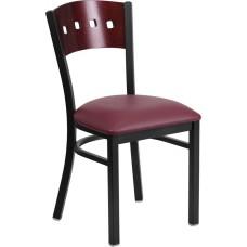 HERCULES Series Black 4 Square Back Metal Restaurant Chair - Mahogany Wood Back, Burgundy Vinyl Seat [XU-DG-6Y1B-MAH-BURV-GG]