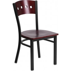 HERCULES Series Black 4 Square Back Metal Restaurant Chair - Mahogany Wood Back & Seat