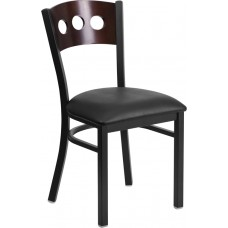 HERCULES Series Black 3 Circle Back Metal Restaurant Chair - Walnut Wood Back, Black Vinyl Seat [XU-DG-6Y2B-WAL-BLKV-GG]