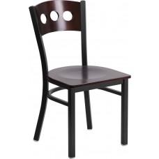HERCULES Series Black 3 Circle Back Metal Restaurant Chair - Walnut Wood Back & Seat