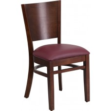 Lacey Series Solid Back Walnut Wood Restaurant Chair - Burgundy Vinyl Seat