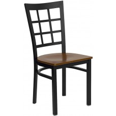 HERCULES Series Black Window Back Metal Restaurant Chair - Cherry Wood Seat [XU-DG6Q3BWIN-CHYW-GG]