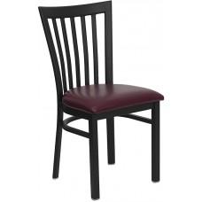 HERCULES Series Black School House Back Metal Restaurant Chair - Burgundy Vinyl Seat