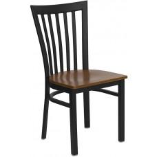 HERCULES Series Black School House Back Metal Restaurant Chair - Cherry Wood Seat