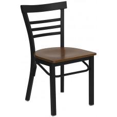 HERCULES Series Black Ladder Back Metal Restaurant Chair - Cherry Wood Seat [XU-DG6Q6B1LAD-CHYW-GG]