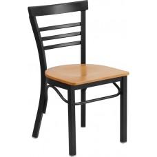 HERCULES Series Black Ladder Back Metal Restaurant Chair - Natural Wood Seat [XU-DG6Q6B1LAD-NATW-GG]