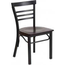 HERCULES Series Black Ladder Back Metal Restaurant Chair - Walnut Wood Seat [XU-DG6Q6B1LAD-WALW-GG]