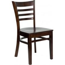 HERCULES Series Ladder Back Walnut Wood Restaurant Chair [XU-DGW0005LAD-WAL-GG]