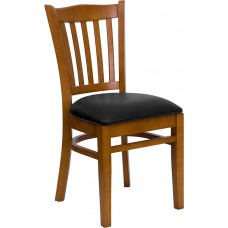 HERCULES Series Vertical Slat Back Cherry Wood Restaurant Chair - Black Vinyl Seat