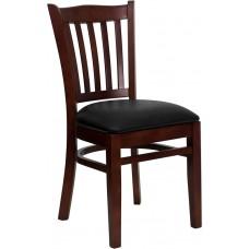 HERCULES Series Vertical Slat Back Mahogany Wood Restaurant Chair - Black Vinyl Seat
