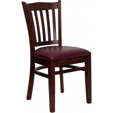HERCULES Series Vertical Slat Back Mahogany Wood Restaurant Chair - Burgundy Vinyl Seat
