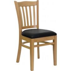 HERCULES Series Vertical Slat Back Natural Wood Restaurant Chair - Black Vinyl Seat