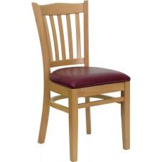 HERCULES Series Vertical Slat Back Natural Wood Restaurant Chair - Burgundy Vinyl Seat
