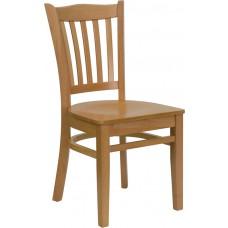 HERCULES Series Vertical Slat Back Natural Wood Restaurant Chair [XU-DGW0008VRT-NAT-GG]